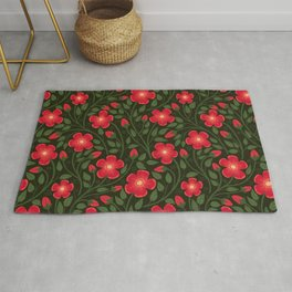 Rose Bramble Pattern- Dark Pink and Black Rug