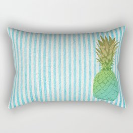 Gold and blue pineapple over blue strips Rectangular Pillow