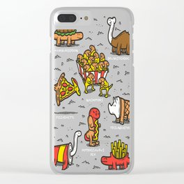 Jurassic-Fast-Food Clear iPhone Case
