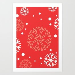 Red Snowflakes Art Print