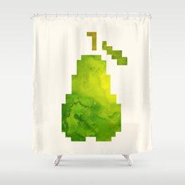 Green Pear Watercolor Fruit Geometric Hardedge Pixel Art Shower Curtain