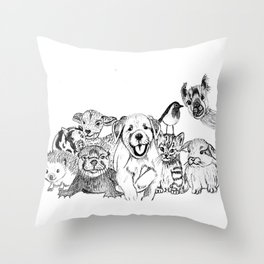 Happiness is animals Throw Pillow
