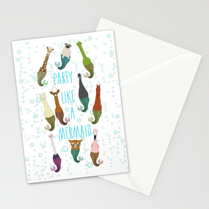 Party Like A Mermaid Stationery Cards