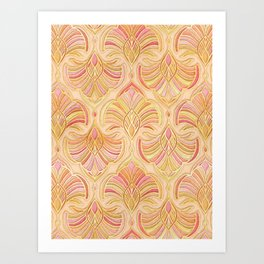Rose Gold and Apricot Gilded Art Deco Art Print