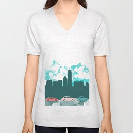 City, mountain and cars Unisex V-Neck