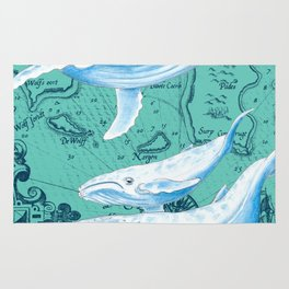 Whale Family Teal Rug