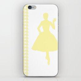 Cream Modern Houndstooth w/ Fashion Silhouette iPhone Skin