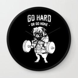 Go Hard or Go Home in Black Wall Clock