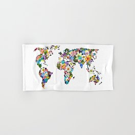 Floral World Map Hand & Bath Towel