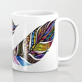 Colorful Watercolor Hand Drawn Tangle Feather Coffee Mug