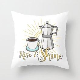 Rise and shine | Coffee art print | Stovetop espresso Throw Pillow