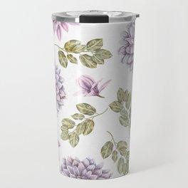 Lavender Rose Garden Floral Pattern Travel Mug