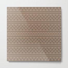 Pale Brown Aztec Style Metal Print
