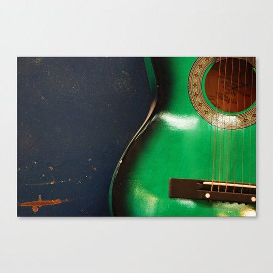 Green guitar Canvas Print