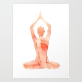 Yoga | Lotus Pose | Orange | Meditation | Gratitude | Yogi-Art | Love | Zen Art Print
