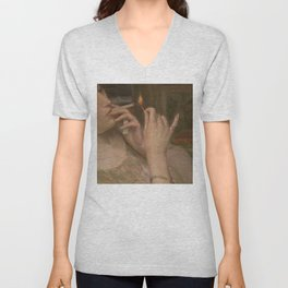 'After Leaving Suzanne, Midnight 'a portrait painting by Auguste Levêque Unisex V-Neck