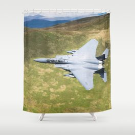 Low Flying F-15E Strike Eagle Shower Curtain