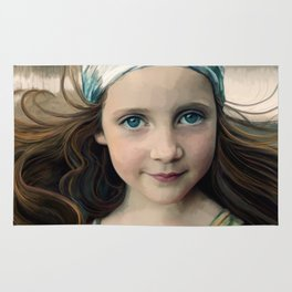 Dancer at Dusk - portrait painting of a young girl Rug