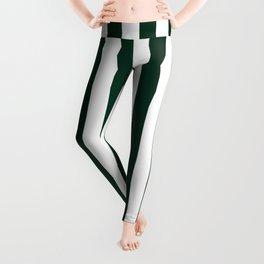 Narrow Vertical Stripes - White and Deep Green Leggings