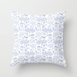 Lemony Toile de Jouy Throw Pillow
