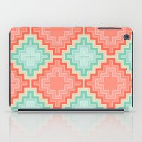 kilim iPad Cases featuring coral mint kilim by musings