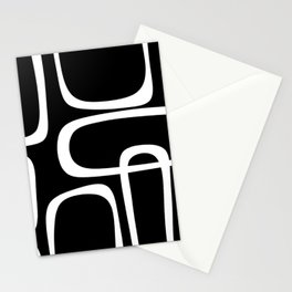 Midcentury Modern Loops Pattern in White and Black Stationery Cards