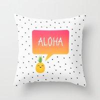 aloha Throw Pillows featuring Aloha by Elisabeth Fredriksson