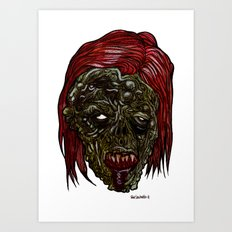 Heads of the Living Dead Zombies: Was Woman Zombie Art Print