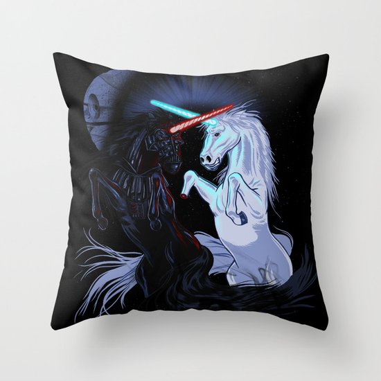Starwars with unicorns (black) Throw Pillow