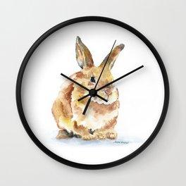 Bunny Rabbit Watercolor Painting - Woodland Animal Art Wall Clock