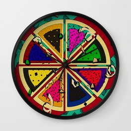 Pizza Patterned Pie Wall Clock