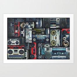 Retro Pop Eighties Boombox Radio Pattern Art Print