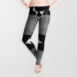 Abstraction_NEW_SUN_DOUBLE_BLACK_LINE_ART_Minimalism_014BB Leggings