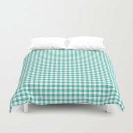Modern green white checker picnic stripes pattern Duvet Cover