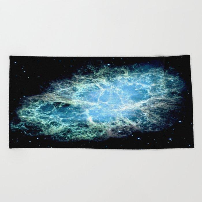 Crab Nebula : Aqua Teal Blue Galaxy Beach Towel