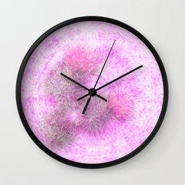 Abstract pink thistle mandala Wall Clock