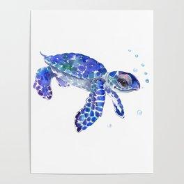 Cute Blue Baby Sea Turtle. children illustration, turtle art Poster