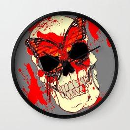 HALLOWEEN BLOODY SKULL & BUTTERFLY ART Wall Clock