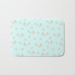 Christmas birds - Bird pattern on turquoise background Bath Mat