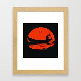 fisherman silhouette Framed Art Print