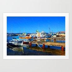 Boats at Harbor Art Print
