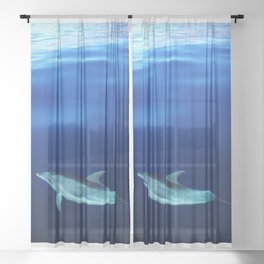 Dolphin and blues Sheer Curtain