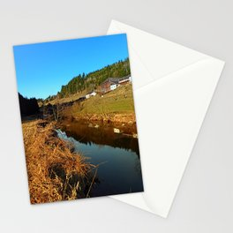 A river, the valley and traditional farmland | waterscape photography Stationery Cards