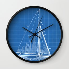 Sailboat Patent - Yacht Art - Blueprint Wall Clock