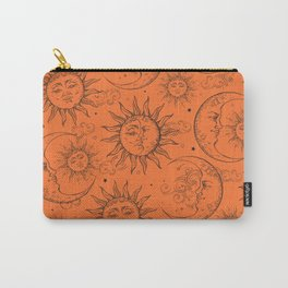 Orange Magic Celestial Sun Moon Stars Carry-All Pouch