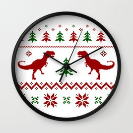 Christmas Ugly Dinosaur Sweater pattern Wall Clock