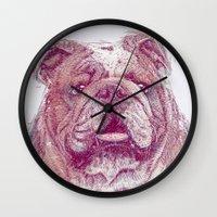 bulldog Wall Clocks featuring Bulldog by Ahmad Mujib