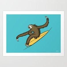 Surfing Sloth Art Print