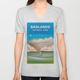 Badlands National Park, South Dakota - Skyline Illustration by Loose Petals Unisex V-Neck