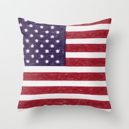 USA flag - in Crayon Throw Pillow